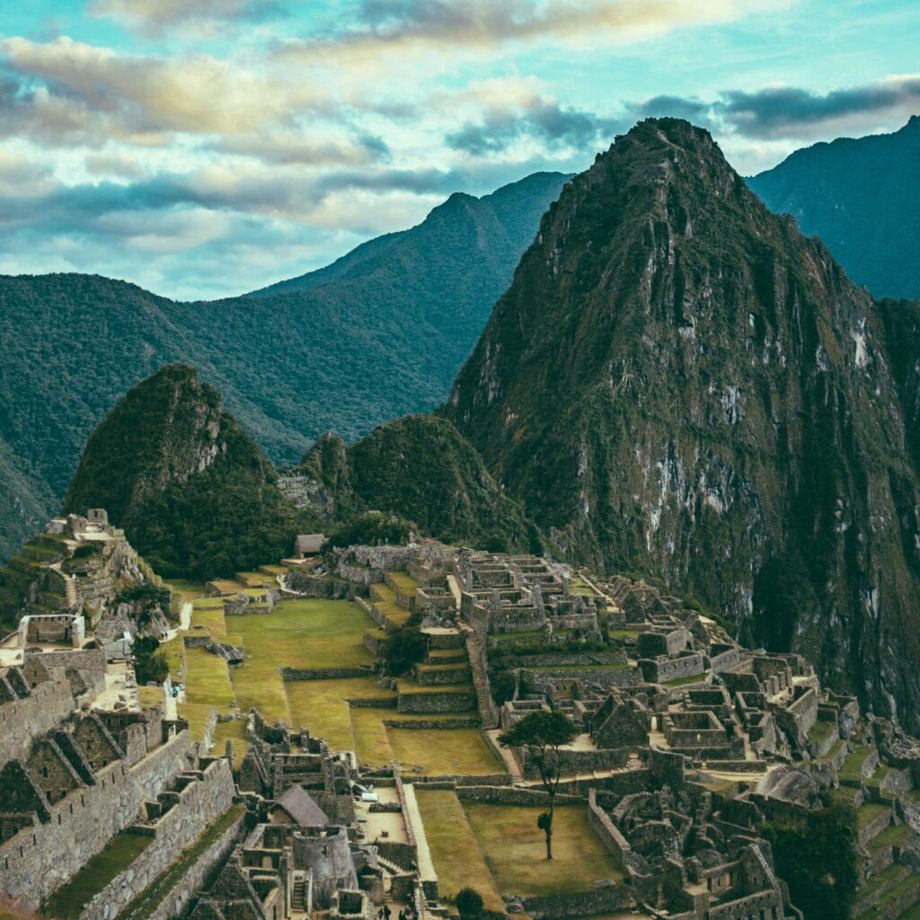 Machu Picchu among the mountains in Peru
