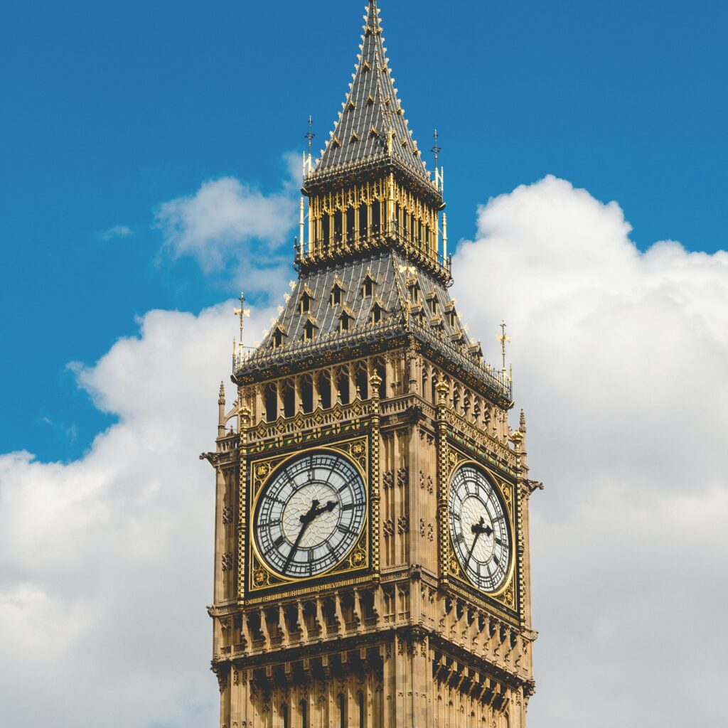 Big Ben on a sunny day in London, England
